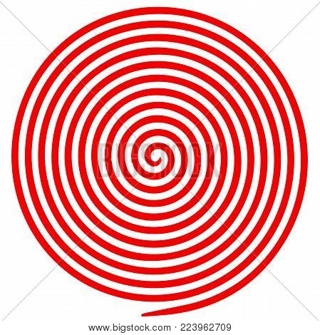 Red and white round abstract vortex hypnotic spiral. Vector illustration optical illusion helix anaglyph opt art illustration. Volute, maze, concentric lines, circular, rotating clip art isolated.