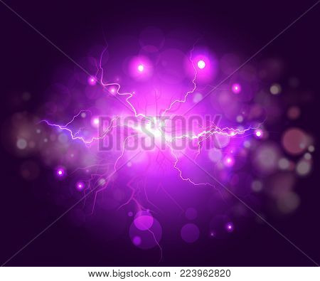 Plasma or lightning fractal, abstract energy background. Colorful abstract psychedelic lightning with deep purple sky and effects. Violet glowing nebula with high energy plasma flash field in space.