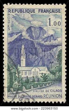 France - circa 1960: Stamp printed by France, Color edition on Tourism, shows Cilaos Church Grand Massif Benard, circa 1960