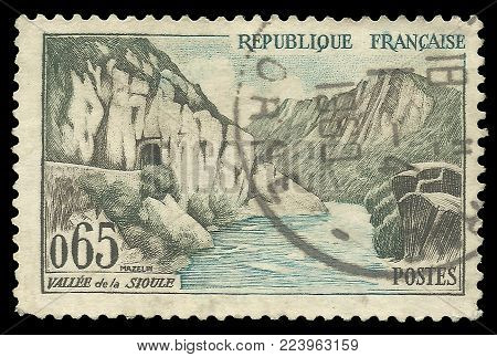 France - circa 1960: Stamp printed by France, Color edition on Tourism, shows Painting Sioul Valley, circa 1960