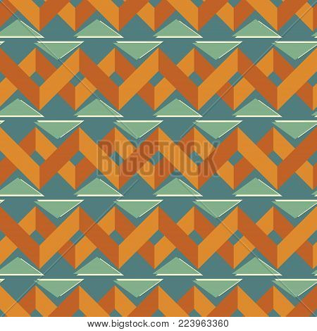 Seamless abstract geometric pattern with zigzag lines and triangles in retro color palette