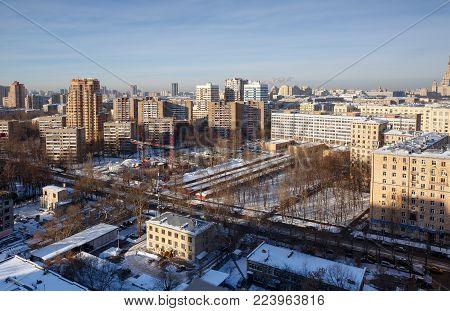 MOSCOW/ RUSSIA - JANUARY 25, 2017. Panoramic view of the South-Western district of Moscow in winter.