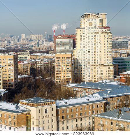 MOSCOW/ RUSSIA - JANUARY 25, 2017. Aerial view of the Gagarinsky district in the South-Western Administrative Okrug of Moscow. New residential complex Gubkina 6.