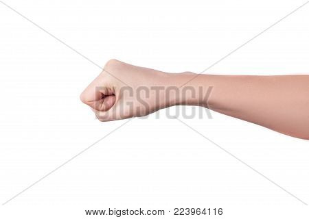 woman hand clenched in a fist punching opponent isolated on white background