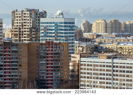 MOSCOW/ RUSSIA - JANUARY 25, 2017. Aerial view of the new and old residential houses. South-Western Administrative Okrug (Gagarinsky district), Moscow, Russia.