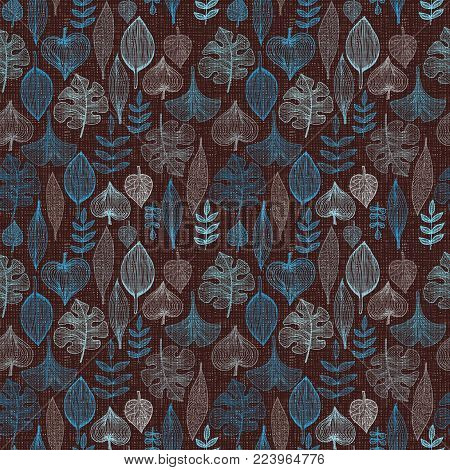 Seamless pattern with autumn leaves, background for textile and wrapping paper