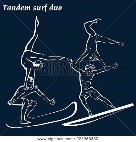 Silhouette of a surfers. Acrobatic surfing (Acrobatic surf duo.). Tandem surf duo. White silhouettes on a blue background.