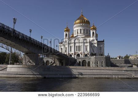 Cathedral Of Christ The Saviour Moscow River Russia