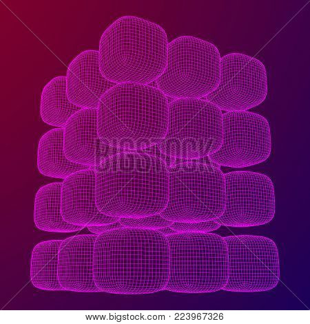 Wireframe Mesh Cube make with many small cubes. Connection Structure. Digital Data Visualization Concept. Vector Illustration.