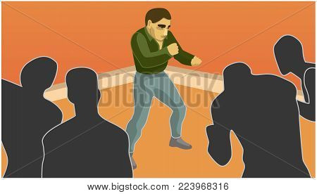 a man confronts the shadows. it overcome difficulties. situation. vector illustration
