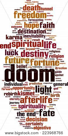 Doom Word Cloud Concept. Vector Illustration On White
