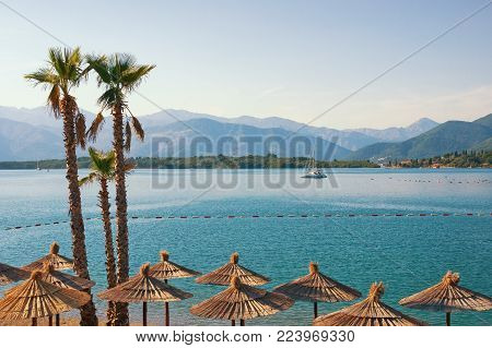 Summer  vacation. View of Bay of Kotor (Adriatic Sea) near Lustica peninsula , Montenegro