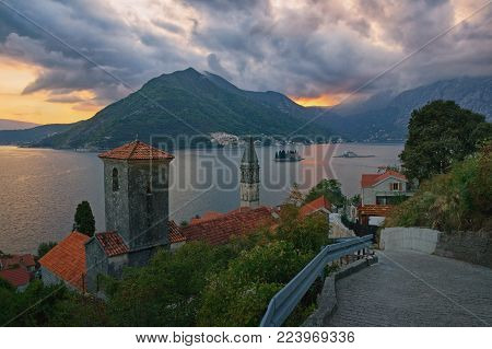 Beautiful evening view of ancient town of Perast on the Bay of Kotor and islands of St. George and Our Lady of the Rocks. Montenegro