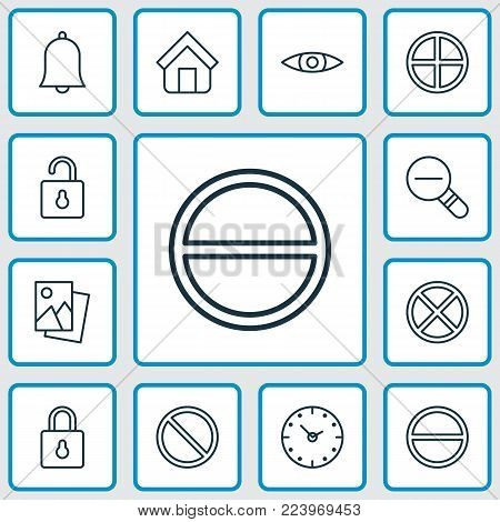 Network icons set with landscape photo, bell, refuse bell elements. Isolated vector illustration network icons.