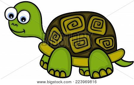 Scalable vectorial representing a cute little turtle, illustration isolated on white background.