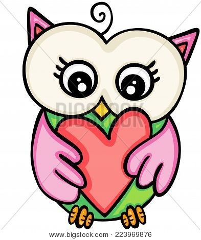 Scalable vectorial representing a cute owl girl holding heart, illustration isolated on white background.