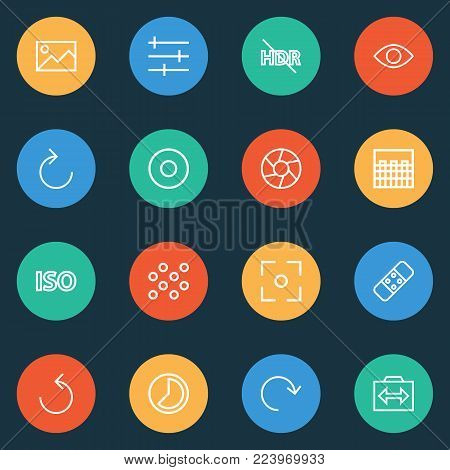 Image icons line style set with image, healing, remove red eye and other pattern elements. Isolated vector illustration image icons.