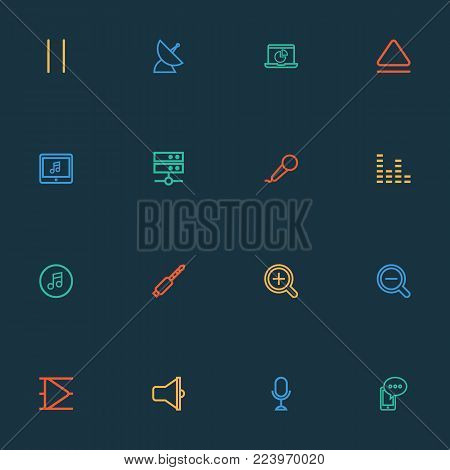 Music icons line style set with zoom in, multimedia, datacenter and other top elements. Isolated vector illustration music icons.