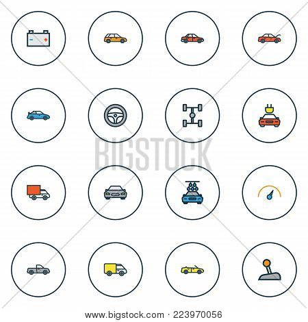 Automobile icons colored line set with electric, sport, washing and other automobile elements. Isolated vector illustration automobile icons.