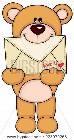 Scalable vectorial representing a teddy bear holding love envelope, illustration isolated on white background.