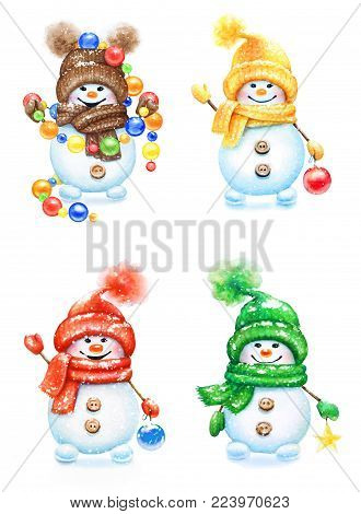 Collection of watercolor hand drawn cute snowmen in mittens and hats with decorative balls for New Year tree isolated on white background.