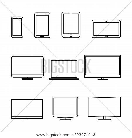 Set of computer monitors, laptop, e-book, tablets and mobile phones from thin lines. Electronic gadgets isolated on white background, vector illustration.