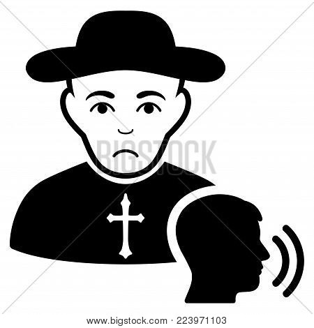 Pitiful Believer Confession vector pictogram. Style is flat graphic black symbol with sorrow emotion.