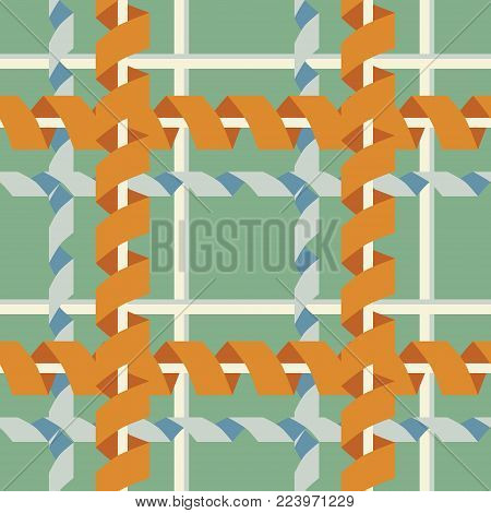 Seamless abstract geometric pattern with criss-cross serpentine