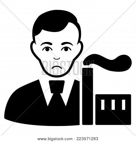 Sadly Capitalist Oligarch vector pictograph. Style is flat graphic black symbol with sadness emotion.