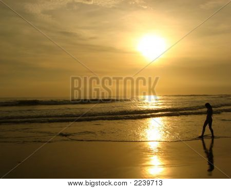 a solitary person walking along the beach with a sunset in the background. taken in barcelo montelimar nicaragua poster