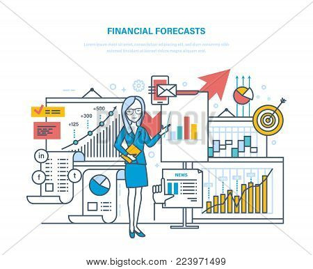 Financial forecasts. Marketing strategy. Market research, e-commerce. Investment growth. Training seminars on finance, trade exchange in foreign exchange market. Illustration thin line design.
