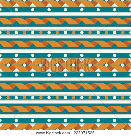 Seamless abstract geometric pattern. Rustic style, retro color palette