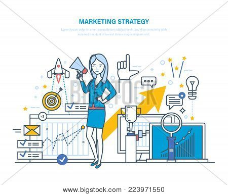 Marketing strategy. Strategy planning, analysis, project management, market research, business advertising, e-commerce. Development, investment growth. Success and rise Illustration thin line design