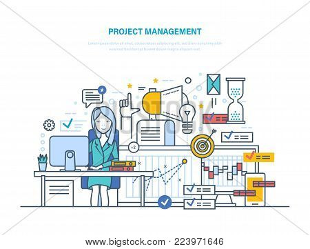 Project management. Organizing, controlling company resources, risks, achieving project goals, business planning, teamwork. Implementation deadlines, time management. Illustration thin line design