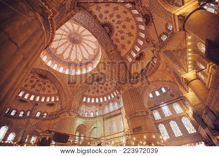 Istanbul, Turkey - Jan 13, 2018: Interior Of The Sultanahmet Mosque (blue Mosque) In Istanbul