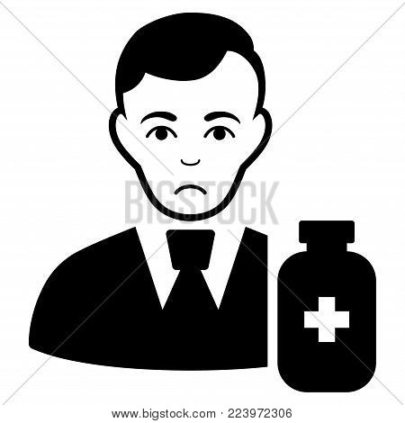 Pitiful Medical Pharmacist vector pictogram. Style is flat graphic black symbol with desperate feeling.
