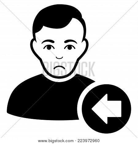 Sadly Previous User vector pictograph. Style is flat graphic black symbol with depressed emotion.