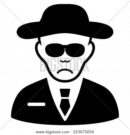 Sad Spy vector icon. Style is flat graphic black symbol with desperate emotion.