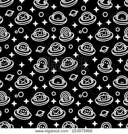 UFO aliens collection, different extraterrestrials in flying saucers with stars and planets, white fat line cartoon style, baby vector seamless pattern on black background