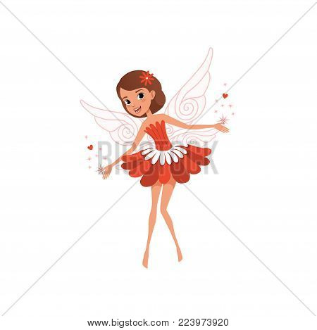 Happy flying fairy spreading magical dust. Cartoon brown-haired girl wearing beautiful red flower shaped dress. Fantasy fairytale character. Colorful flat vector design isolated on white background.
