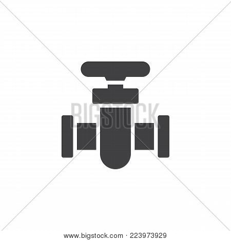 Pipe connector icon vector, filled flat sign, solid pictogram isolated on white. Pipe valve symbol, logo illustration.