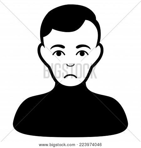Unhappy Boy vector icon. Style is flat graphic black symbol with affliction sentiment.