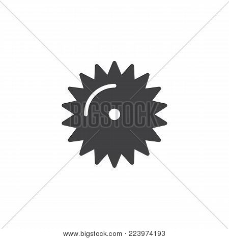 Saw blade icon vector, filled flat sign, solid pictogram isolated on white. Industrial saw symbol, logo illustration.