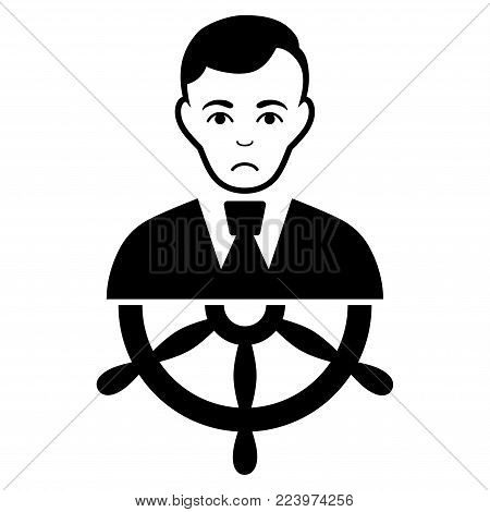 Sadly Captain vector pictogram. Style is flat graphic black symbol with affliction emotion.