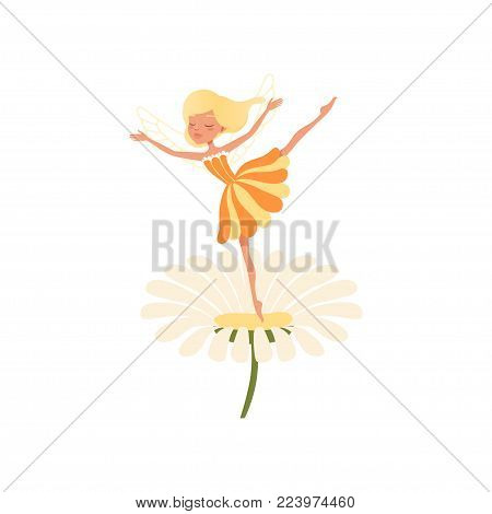 Beautiful blond fairy dancing on daisy flower. Imaginary fairytale character with little magic wings. Girl wearing cure orange dress. Colorful flat vector illustration isolated on white background.
