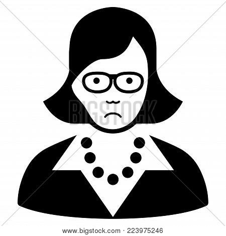 Sad Teacher Lady vector pictograph. Style is flat graphic black symbol with sad mood.