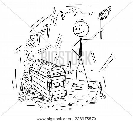 Cartoon stick man drawing conceptual illustration of businessman who found chest with treasure. Business concept of success and fortune.
