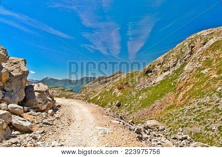 Look In Mountains In National Park Of Picos De Europa, Fuente De. Sunny Summer Day, Mountains, Blue