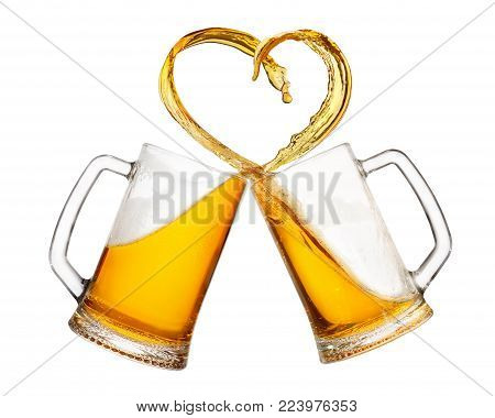 mugs of beer toasting creating splash isolated on white background. Cheers. Pair of beer mugs making toast. Beer up. Love beer concept