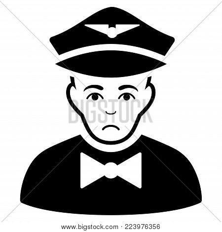 Pitiful Airline Steward vector pictograph. Style is flat graphic black symbol with problem mood.